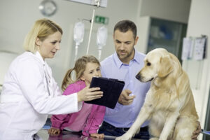 Veterinarian with patient and family
